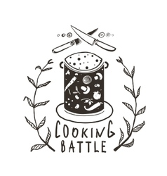 Cooking battle sign and label monochrome design vector