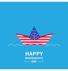 Boat happy independence day vector