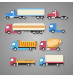 Set of trucks with a shadow vector