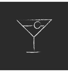 Cocktail glass icon drawn in chalk vector