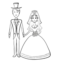 Bride and groom contours vector