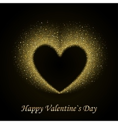 Happy valentines day card with gold glittering vector