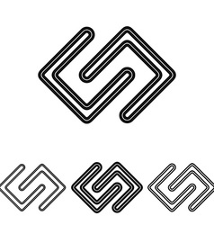 Black line research logo design set vector