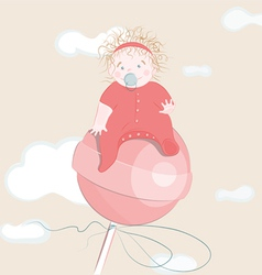 sweet little girl on the lollipop vector image