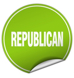 Republican round green sticker isolated on white vector