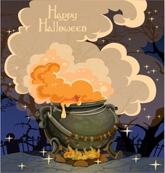 Halloween banner with the boiler festive midnight vector image