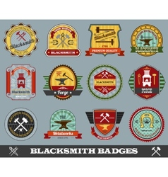 Blacksmith badges set vector
