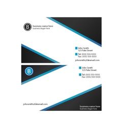 Business card template blue black gradient vector