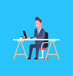 Business man sit at office desk working on laptop vector