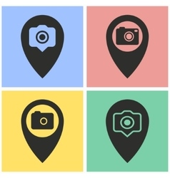 Camera pin icon set vector