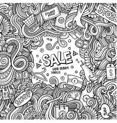 cartoon cute doodles sale frame vector image vector image