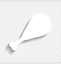 Chicken leg sign white icon with soft vector