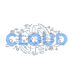 creative of cloud word lettering vector image