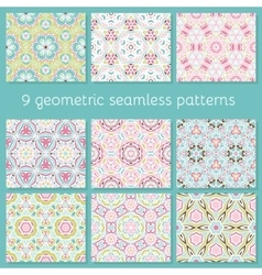 cute seamless colorful geometric pattern set vector image