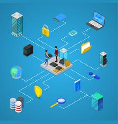Data center with hosting servers equipment vector