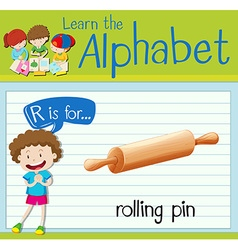 Flashcard letter r is for rolling pin vector