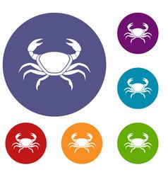 Fresh crab icons set vector