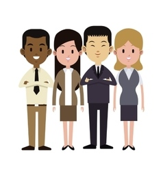 Group people multi-ethnic business work vector