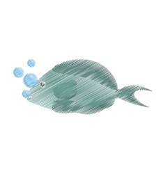 Hand drawing fish aquarium ornament habitat vector