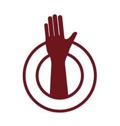 human hand up symbol vector image vector image