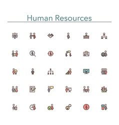 Human Resources Colored Line Icons vector image