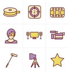 Icons style black movie icon set on gray vector