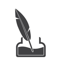 inkwell and old ink pen vector image