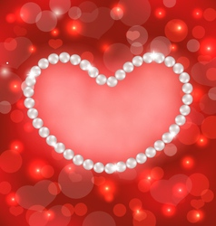 Lighten background with heart made in pearls for vector