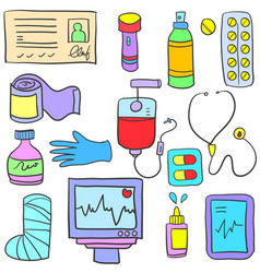 medical element style of doodles vector image