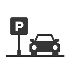 parking area sign with car on white background vector image vector image