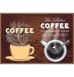 patterns of coffee with inscriptions on background vector image