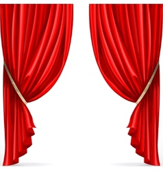 Red curtain collected in folds ribbon isolated on vector image vector image