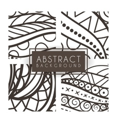 Set of four monochrome intricate patterns vector image vector image