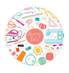 sewing kits icons set on circle frame vector image vector image
