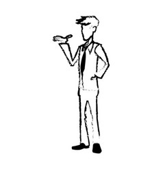 Sketch man with hand in pocket standing vector