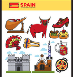 Spain travel famous landmark symbols and spanish vector