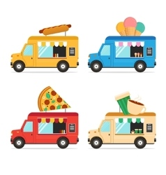 Street Fast Food Truck Set vector image vector image
