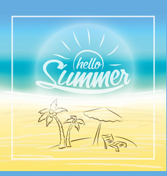 Summer is coming text on blurred summer beach vector