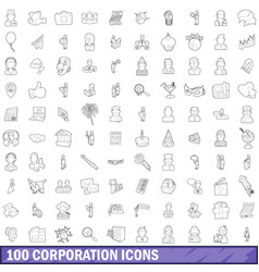 100 corporation icons set outline style vector image vector image