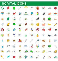 100 vital icons set cartoon style vector image