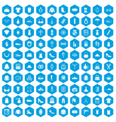 100 womens accessories icons set blue vector