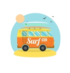 Surf van on the beach flat design vector