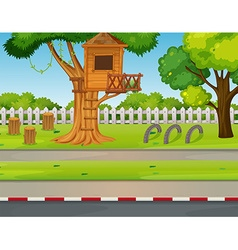 Park scene with treehouse along the road vector