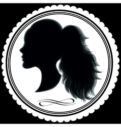 Abstract girl profile in a frame vector