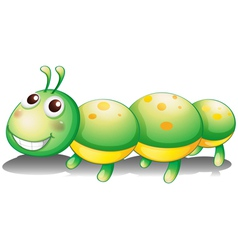 A green caterpillar toy vector image