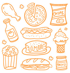 Doodle of fast food set various vector