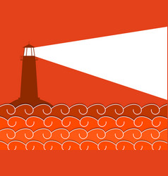 Paper waves and lighthouse seascape vector
