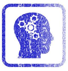 brain mechanics framed textured icon vector image