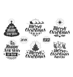 Merry christmas and happy new year label set vector