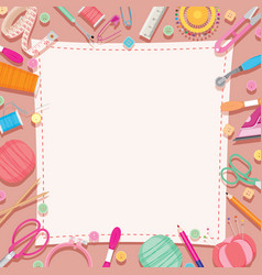Sewing kit icons set border vector